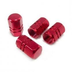 Ventilhætter, rød aluminium, 4 stk.